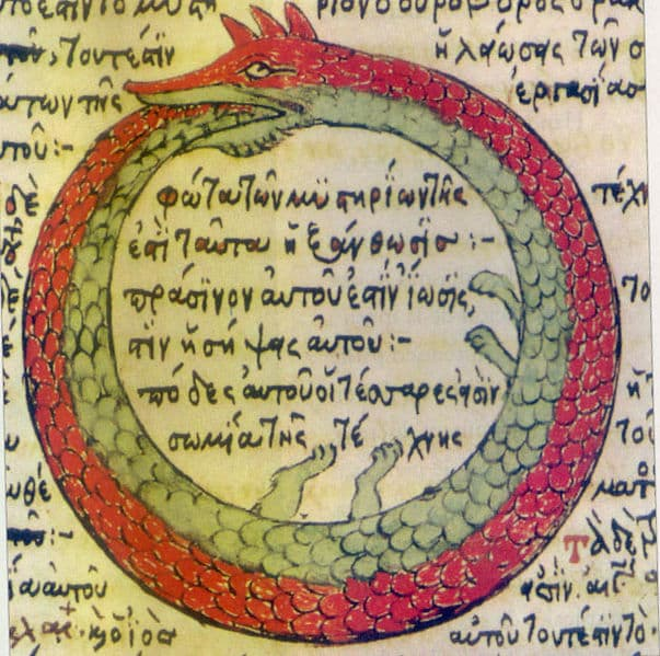 Serpente vermelha Ouroboros - significado de sonhar com cobra vermelha enrolada